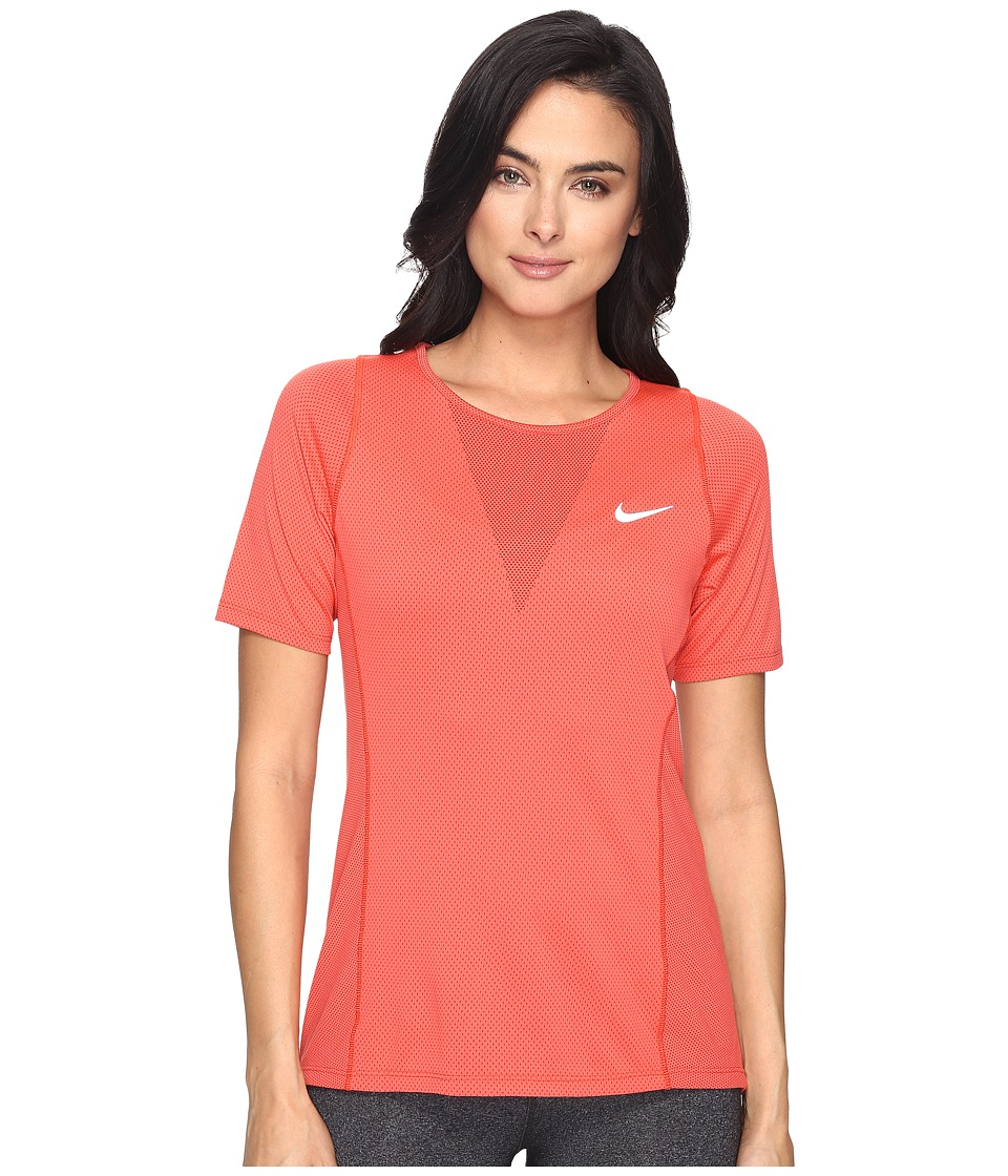 Nike - Zonal Cooling Relay Short Sleeve Running Top (Max Orange/Reflective Silver) Women's Clothing
