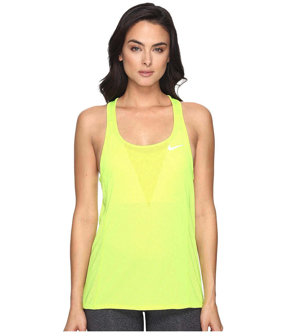 Nike - Dry Running Tank (Volt/Reflective Silver) Women's Sleeveless