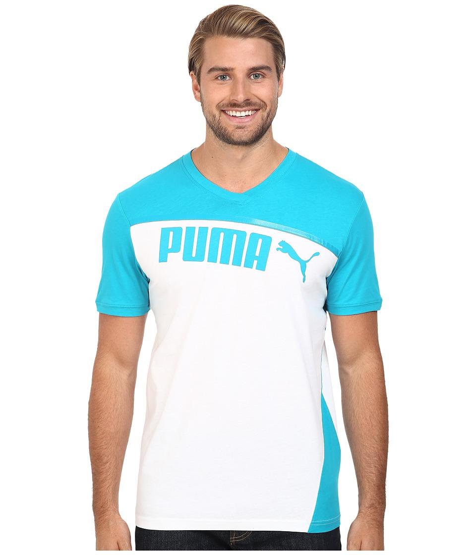 PUMA - Clash Short Sleeve Shirt (Capri Breeze/White) Men's Workout