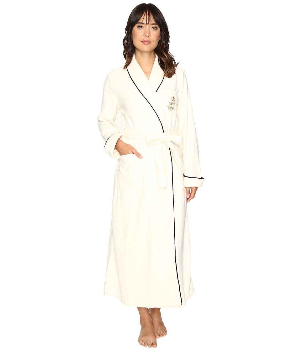 LAUREN Ralph Lauren - Folded Dalton Fleece Long Robe (Cream) Women's Robe