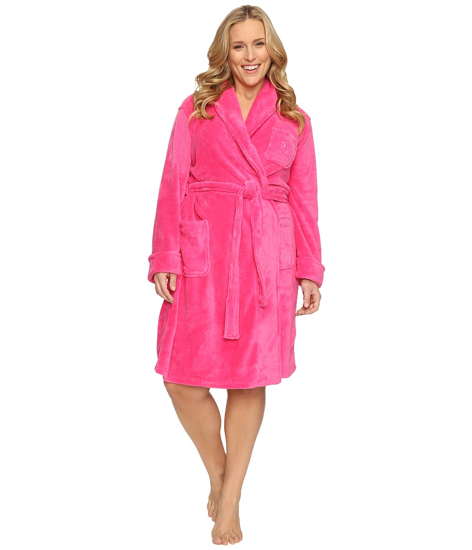 LAUREN Ralph Lauren - Plus Size So Soft Short Robe (Pink) Women's Robe
