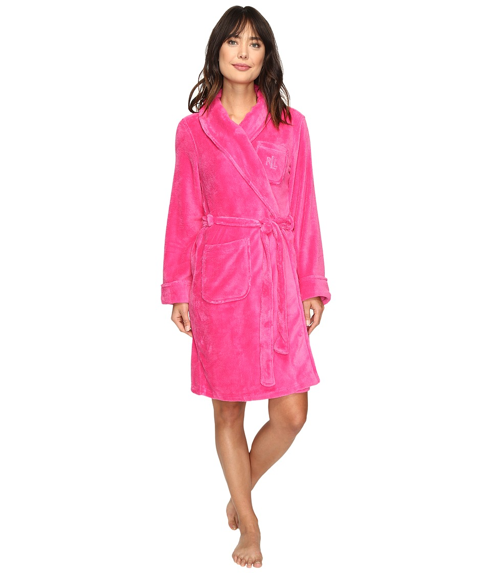 LAUREN Ralph Lauren - So Soft Short Robe (Pink) Women's Robe