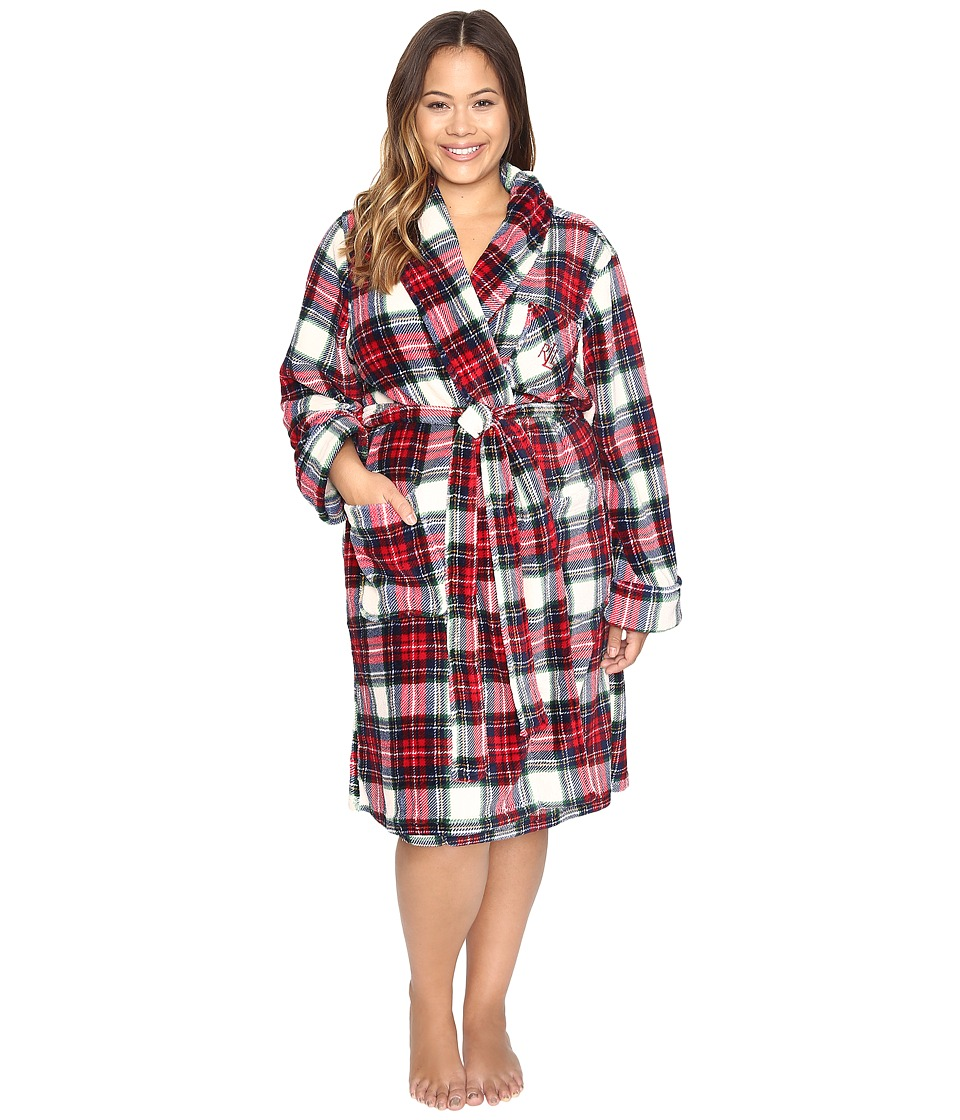 LAUREN Ralph Lauren - Plus Size Folded So Soft Terry Short Robe (Plaid Cream/Blue/Red) Women's Robe