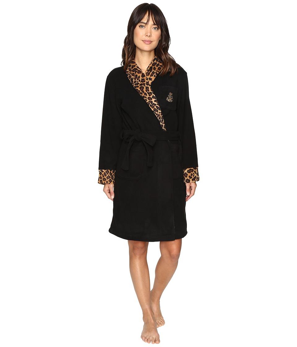 LAUREN Ralph Lauren - Folded Fleece Short Robe (Black) Women's Robe