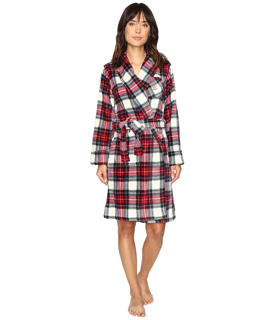 LAUREN Ralph Lauren - Folded So Soft Terry Short Robe (Plaid Cream/Blue/Red) Women's Robe