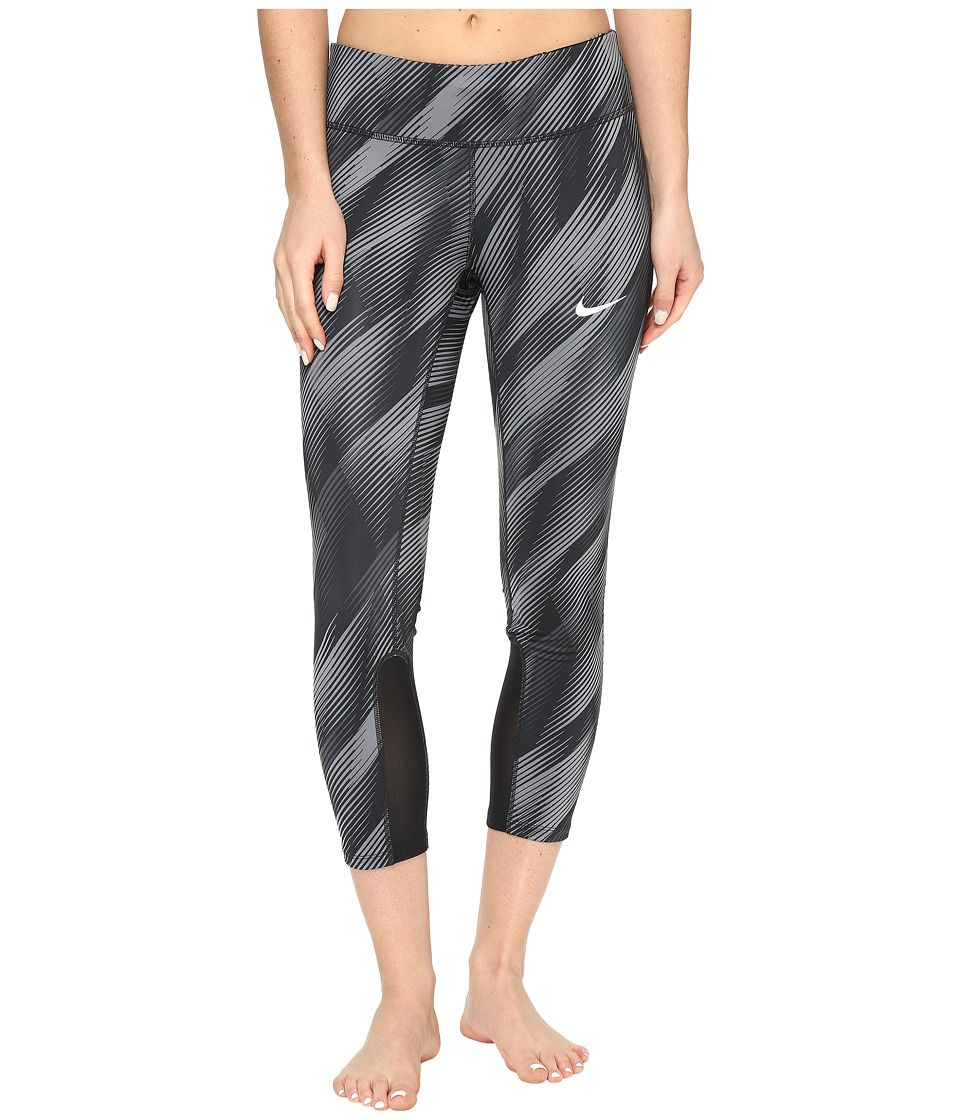 Nike - Power Epic Print Running Crop (Black/Black/Reflective Silver) Women's Capri