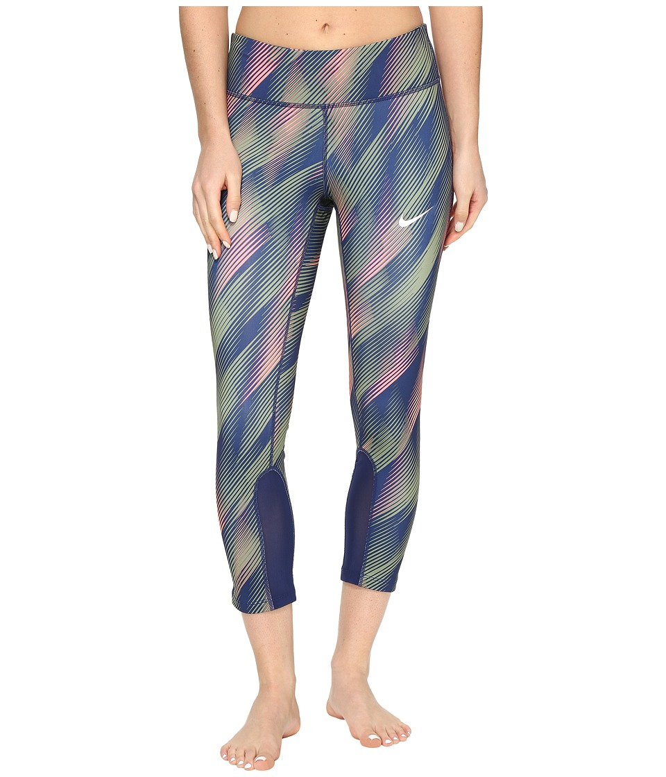 Nike - Power Epic Print Running Crop (Binary Blue/Binary Blue/Reflective Silver) Women's Capri