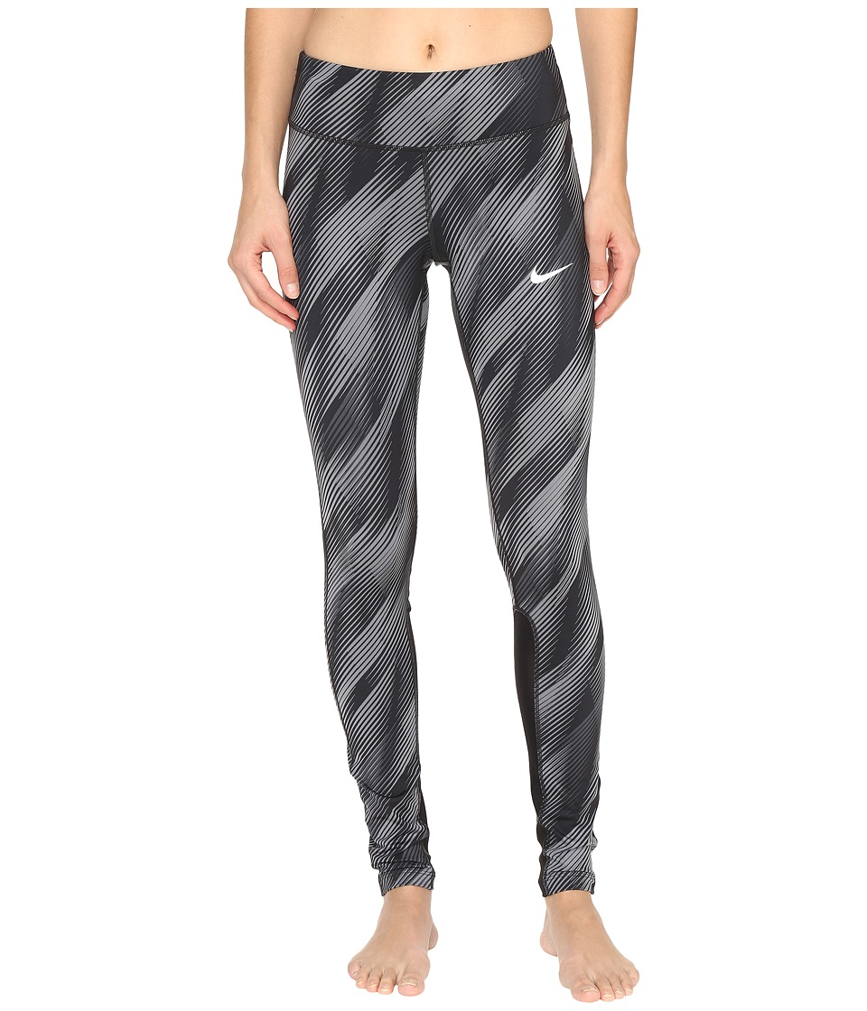 Nike - Power Epic Running Graphic Tight (Black/Black/Reflective Silver) Women's Casual Pants