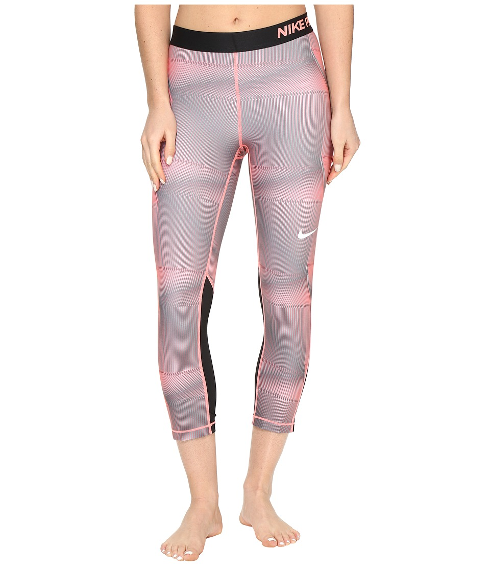 Nike - Pro Cool Pyramid Print Training Capri (Lava Glow/White) Women's Casual Pants