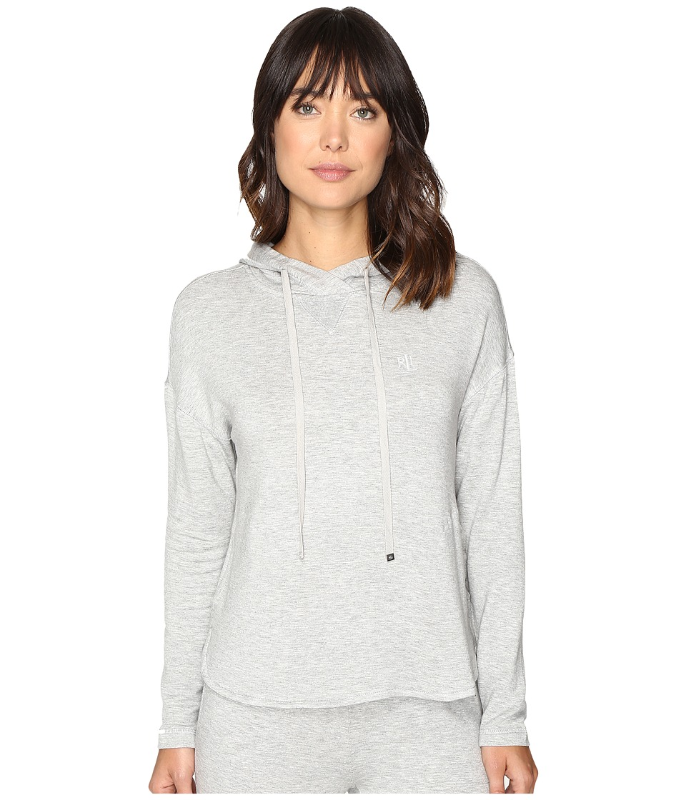 LAUREN Ralph Lauren Lounge Hooded Sweatshirt (Heather Grey) Women