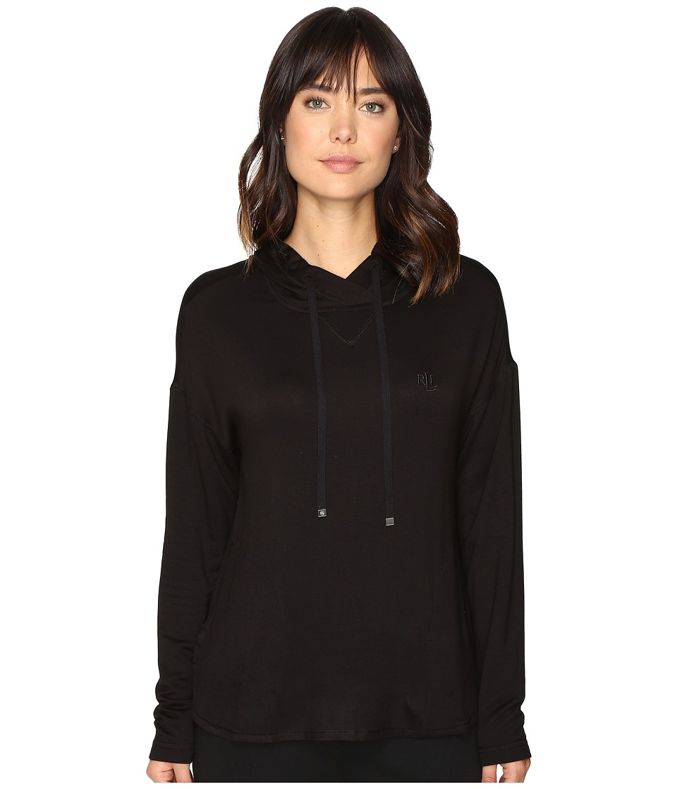 LAUREN Ralph Lauren - Lounge Hooded Sweatshirt (Black) Women's Pajama