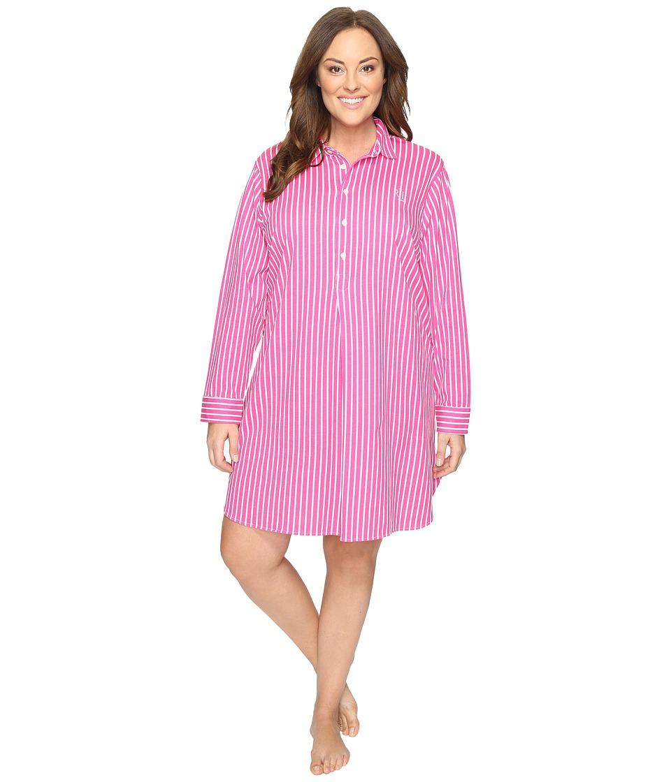 LAUREN Ralph Lauren - Plus Size Long Sleeve Popover Sleepshirt (Stripe Pink/White) Women's Pajama