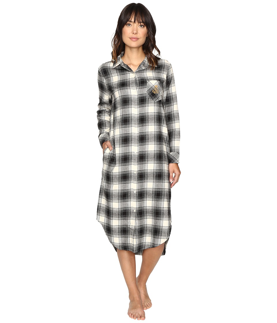 LAUREN Ralph Lauren - Brushed Twill Long Sleepshirt (Plaid Ivory/Black) Women's Pajama