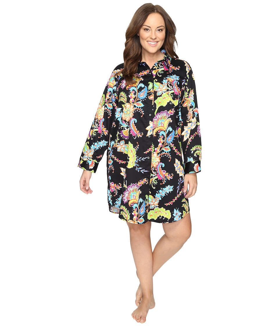 LAUREN Ralph Lauren - Plus Size Sateen Printed Sleepshirt (Paisley Black Multi) Women's Pajama