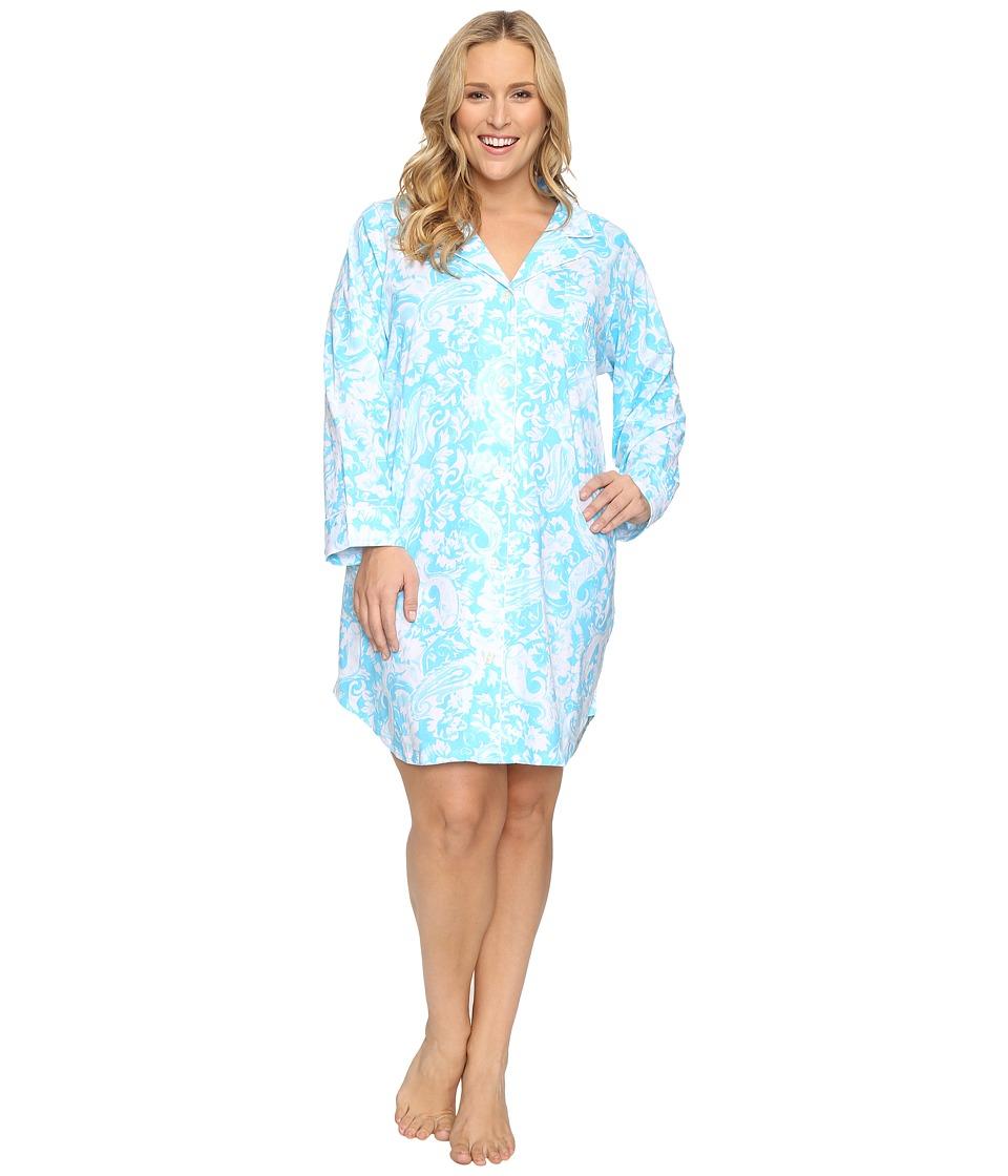 LAUREN Ralph Lauren - Plus Size Knit Sleepshirt (Paisley Blue) Women's Pajama