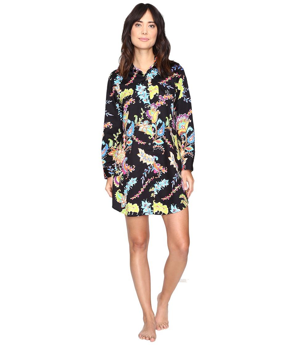 LAUREN Ralph Lauren - Sateen Printed Sleepshirt (Paisley Black Multi) Women's Pajama