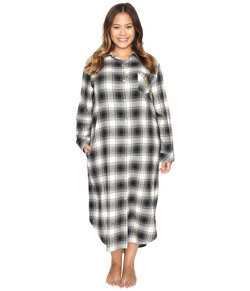 LAUREN Ralph Lauren - Plus Size Brushed Twill Long Sleepshirt (Plaid Ivory/Black) Women's Pajama