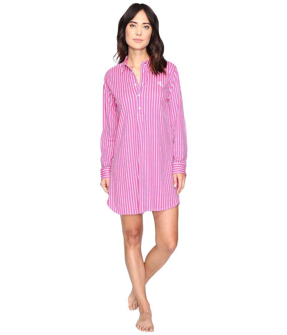 LAUREN Ralph Lauren - Long Sleeve Popover Sleepshirt (Stripe Pink/White) Women's Pajama