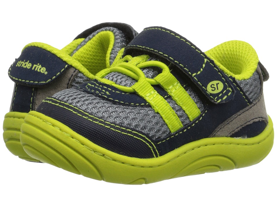 Stride Rite - Ivan (Infant/Toddler) (Grey/Lime Textile) Boy's Shoes