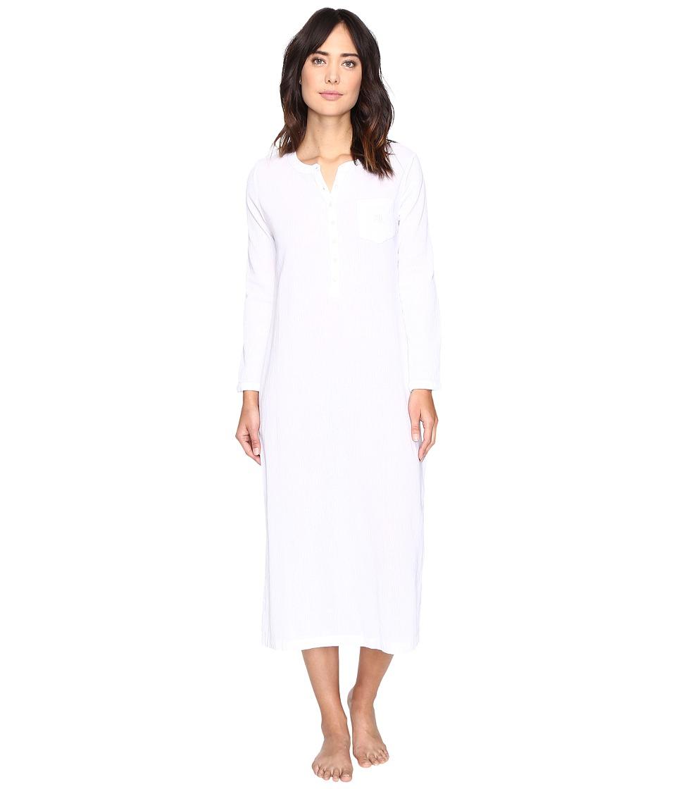 LAUREN Ralph Lauren - Crinkle Gauze Maxi (White) Women's Pajama
