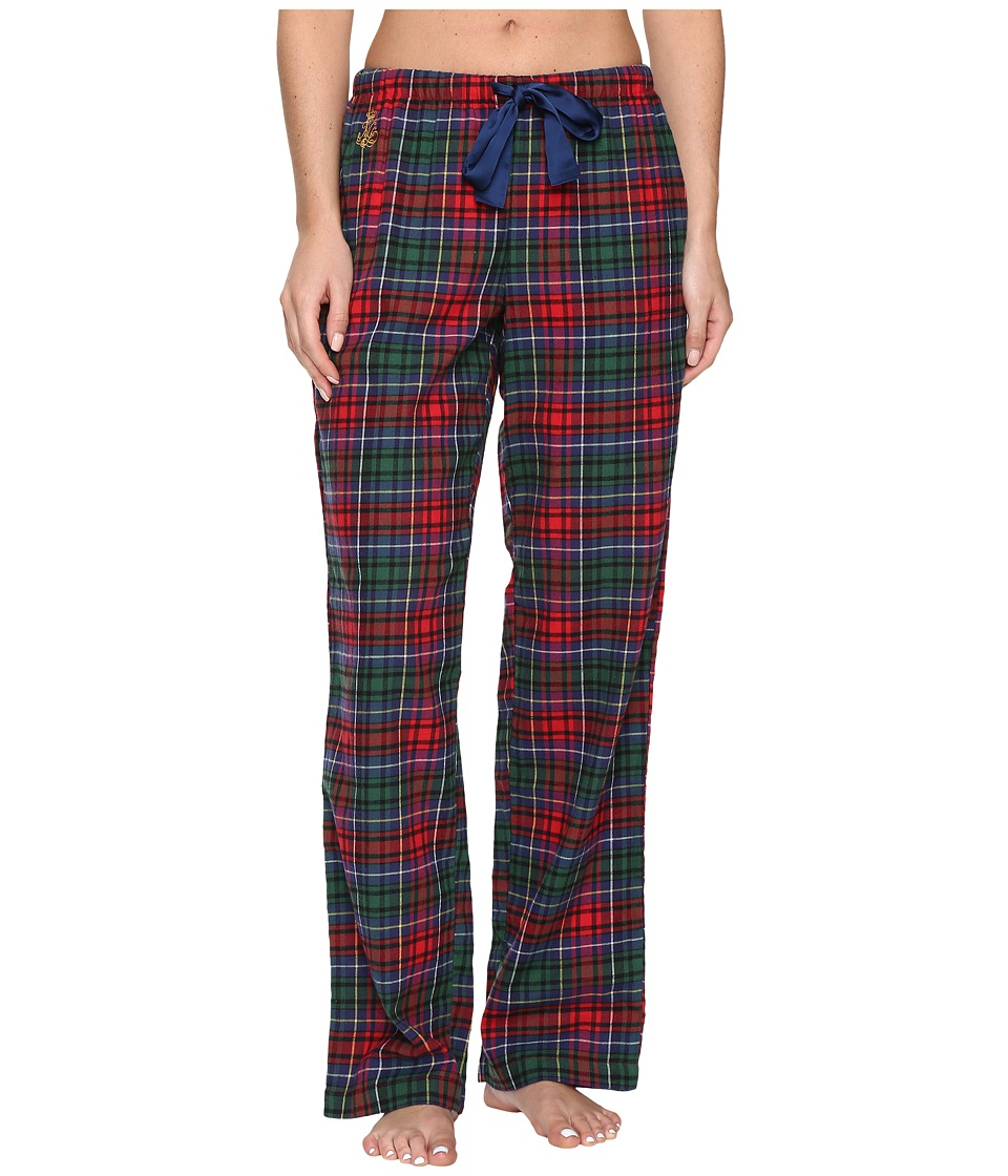 LAUREN Ralph Lauren - Brushed Twill Long Pants (Plaid Red/Green/Blue) Women's Pajama