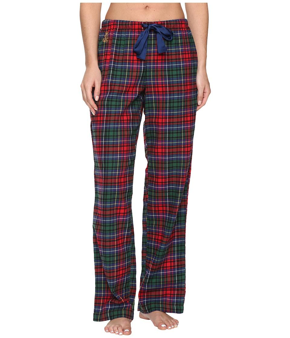LAUREN Ralph Lauren - Brushed Twill Long Pants (Plaid Red/Green/Blue) Women's Pajama