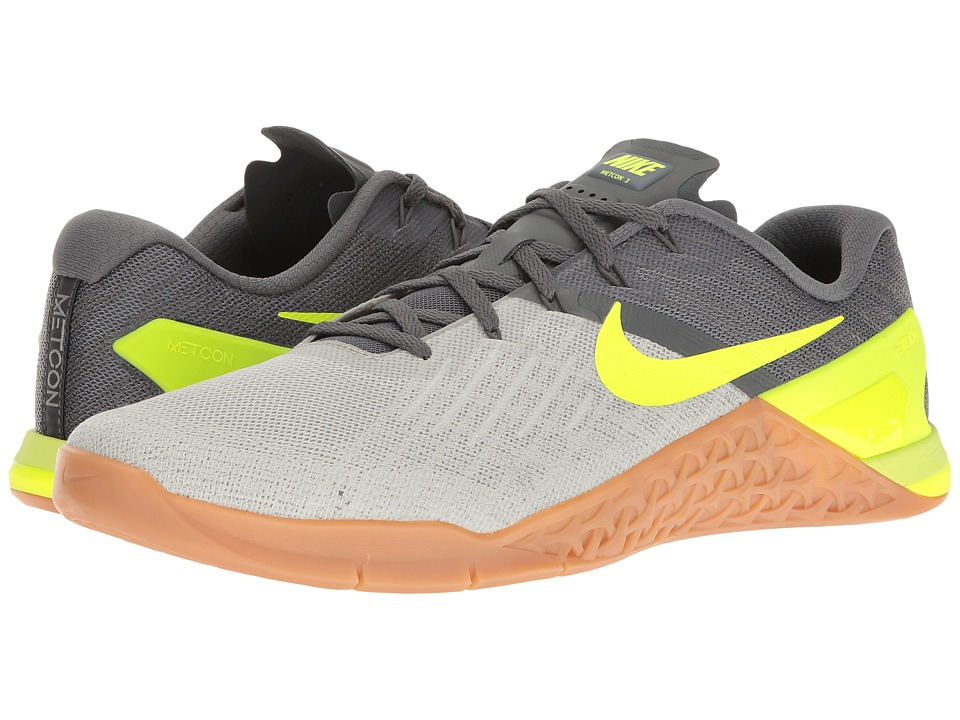 Nike - Metcon 3 (Dark Grey/Volt/Pale Grey/Light Bone) Men's Cross Training Shoes