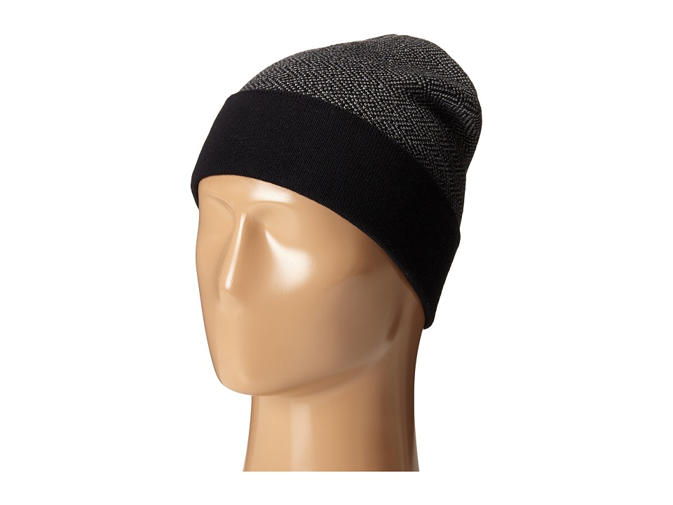 Cole Haan - Fine Gauge Pattern Jacquard Knit Cuff Hat (Black/Heather Grey) Knit Hats
