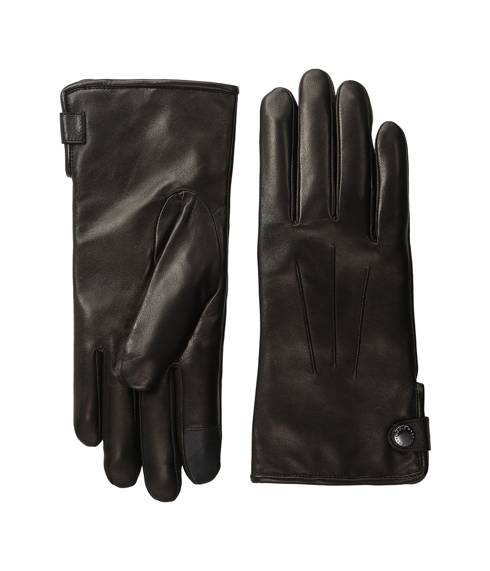 Cole Haan Side Snap Leather Gloves with Center Points and Tech (Black) Extreme Cold Weather Gloves