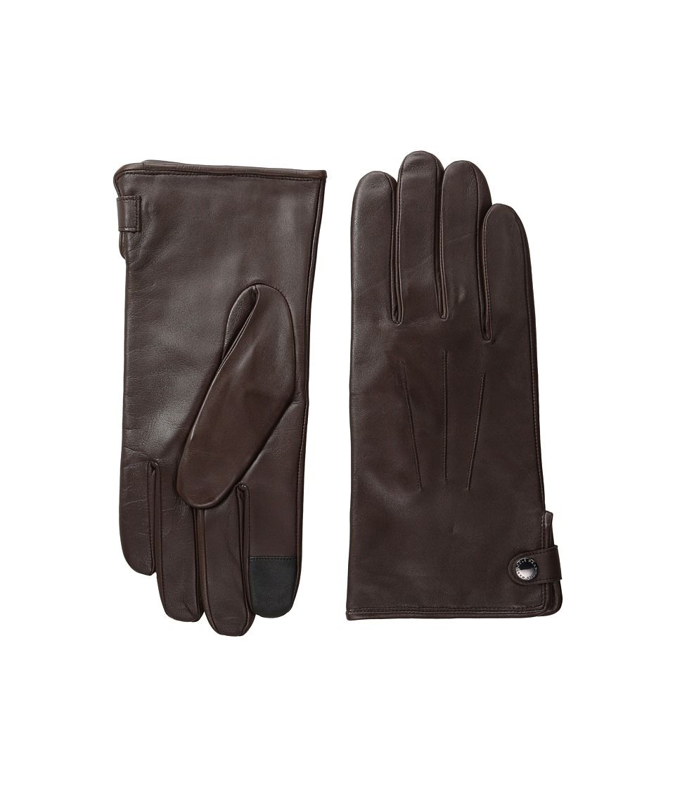 Cole Haan - Side Snap Leather Gloves with Center Points and Tech (Brown) Extreme Cold Weather Gloves