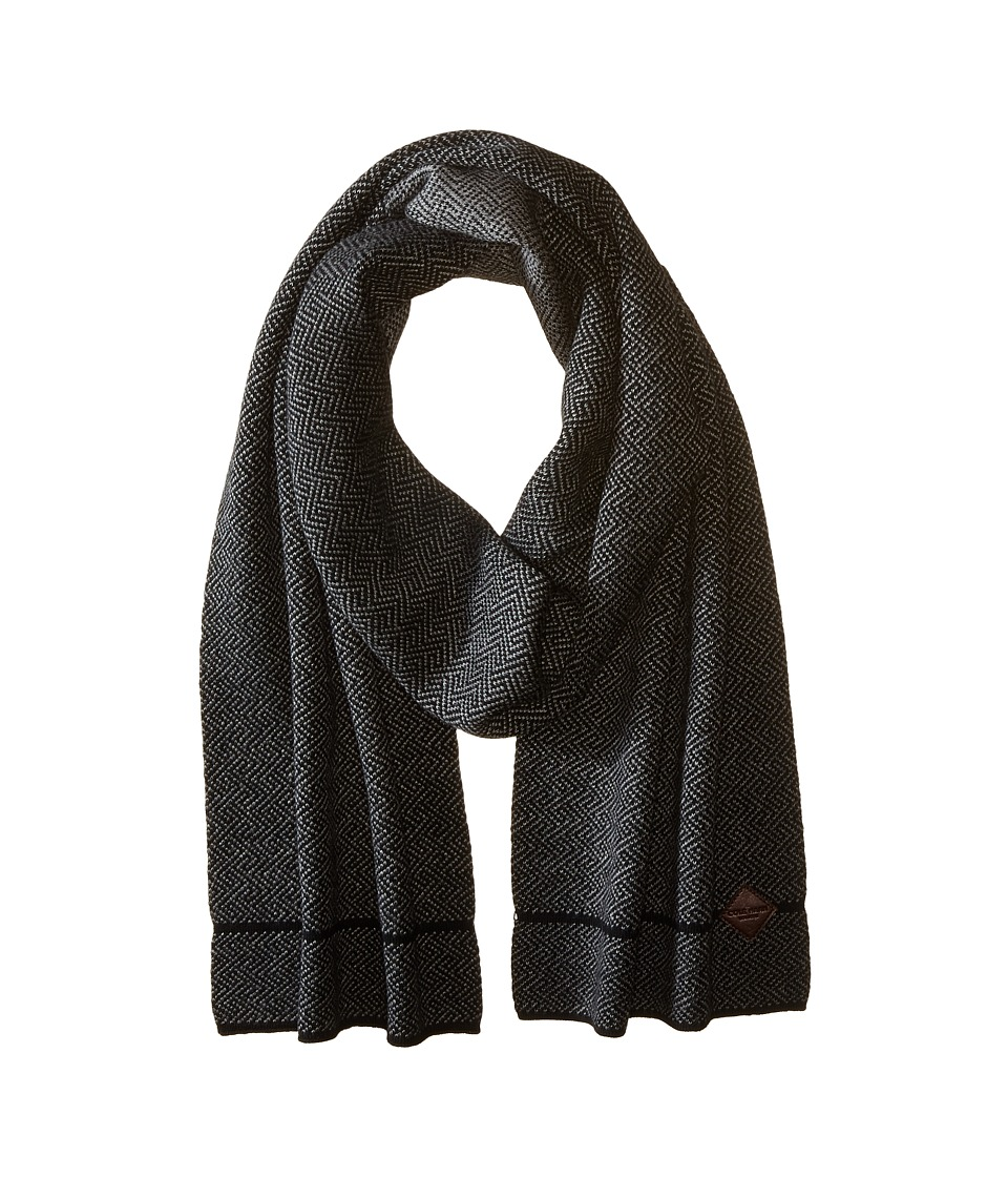 Cole Haan - Fine Gauge Pattern Jacquard Knit Muffler (Black/Heather Grey) Scarves