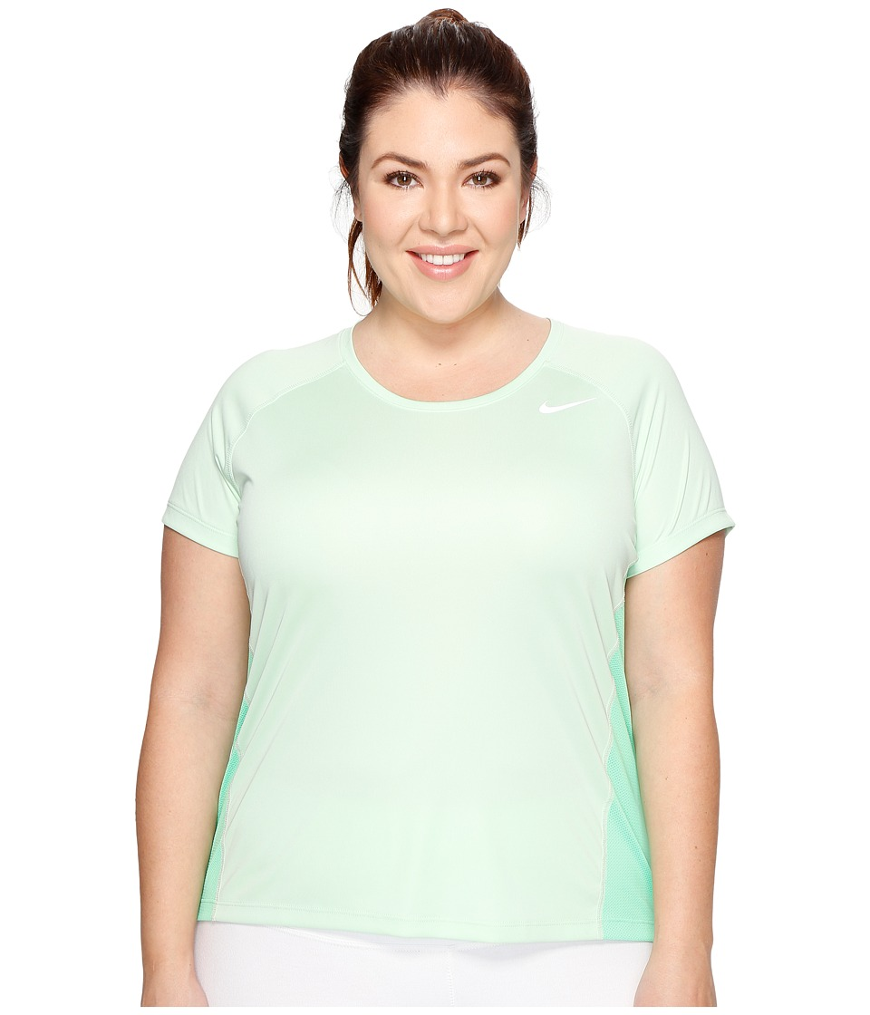 Nike - Dry Miler Short Sleeve Running Top (Size 1X-3X) (Fresh Mint/Electro Green/Reflective Silver) Women's Clothing