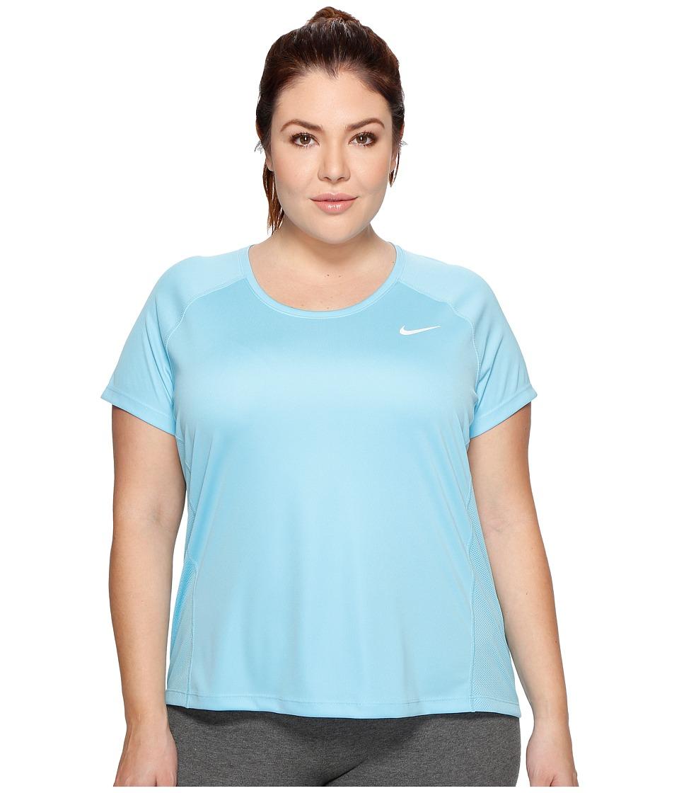 Nike - Dry Miler Short Sleeve Running Top (Size 1X-3X) (Vivid Sky/Vivid Sky) Women's Clothing