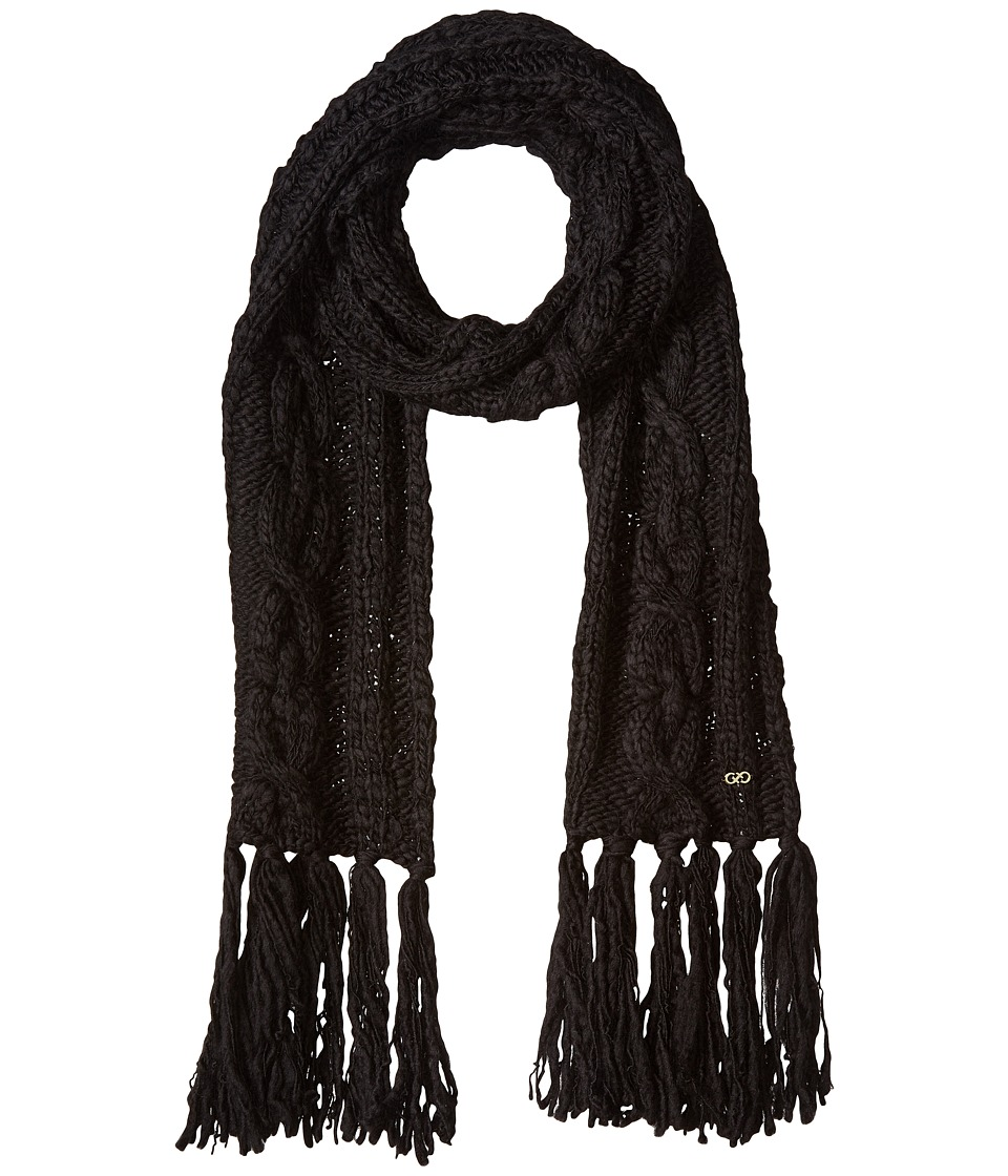 Cole Haan - Chunky Cable Muffler with Fringe (Black) Scarves