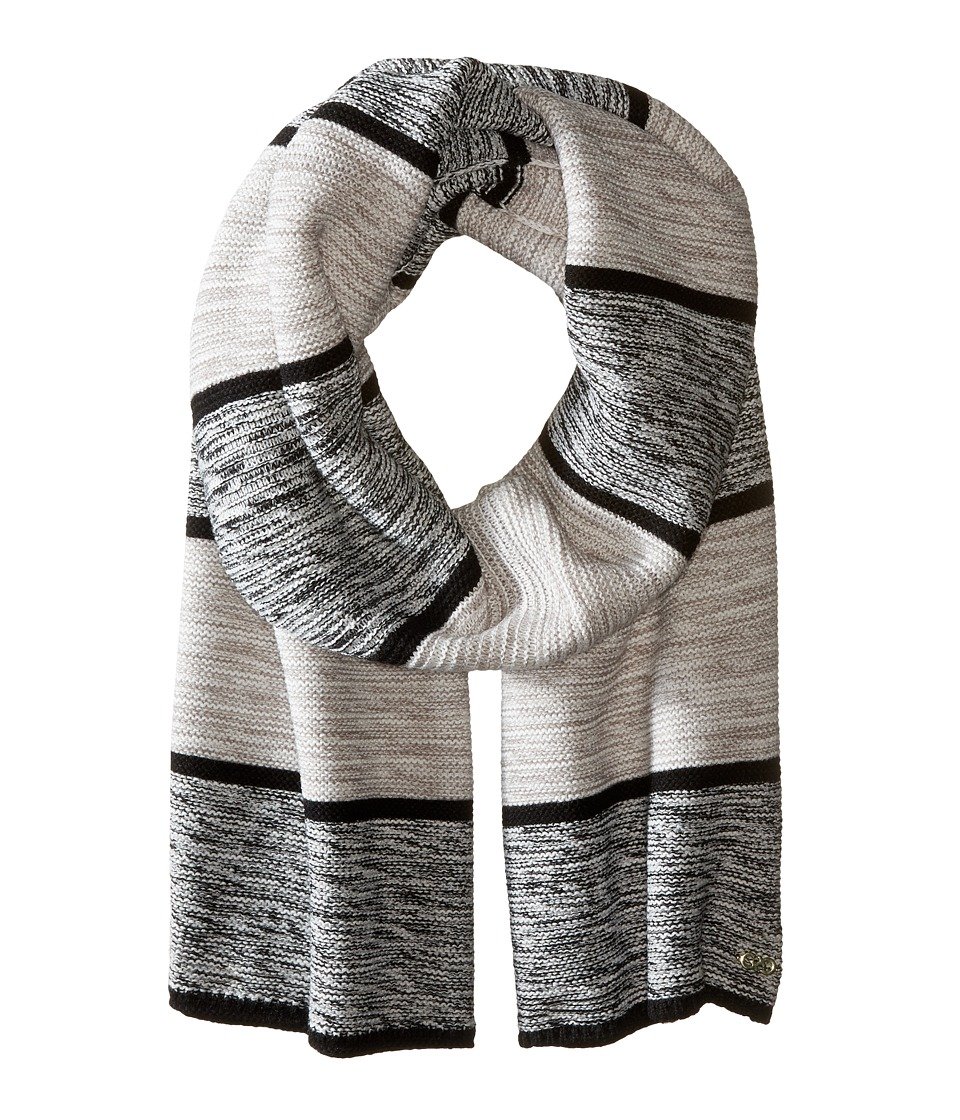 Cole Haan - Wide Marl Stripe Muffler (Black/Ivory/Grey) Scarves