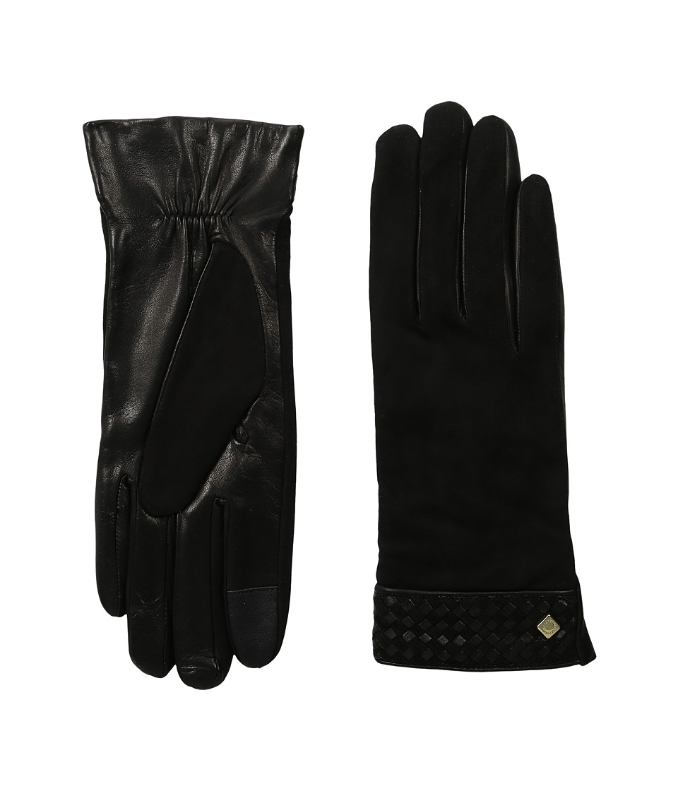 Cole Haan - Braided Cuff Suede Gloves with Tech (Black) Extreme Cold Weather Gloves
