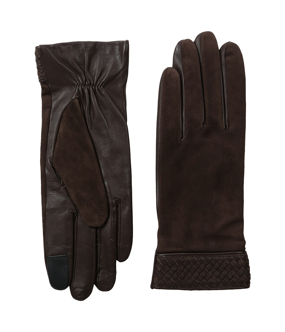 Cole Haan - Braided Cuff Suede Gloves with Tech (Brown) Extreme Cold Weather Gloves