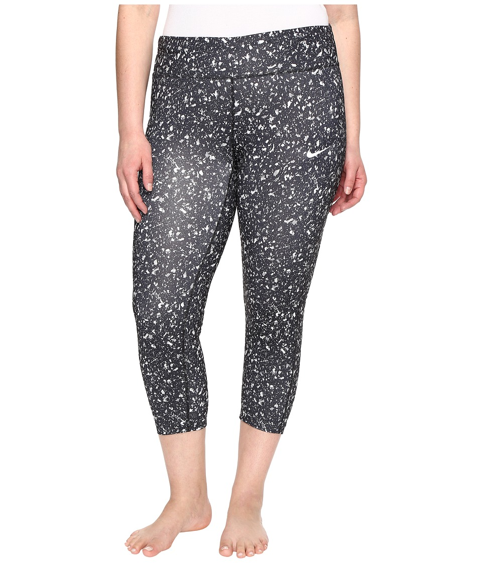 Nike - Power Essential Print Crop (Size 1X-3X) (Black/Black/Reflective Silver) Women's Casual Pants
