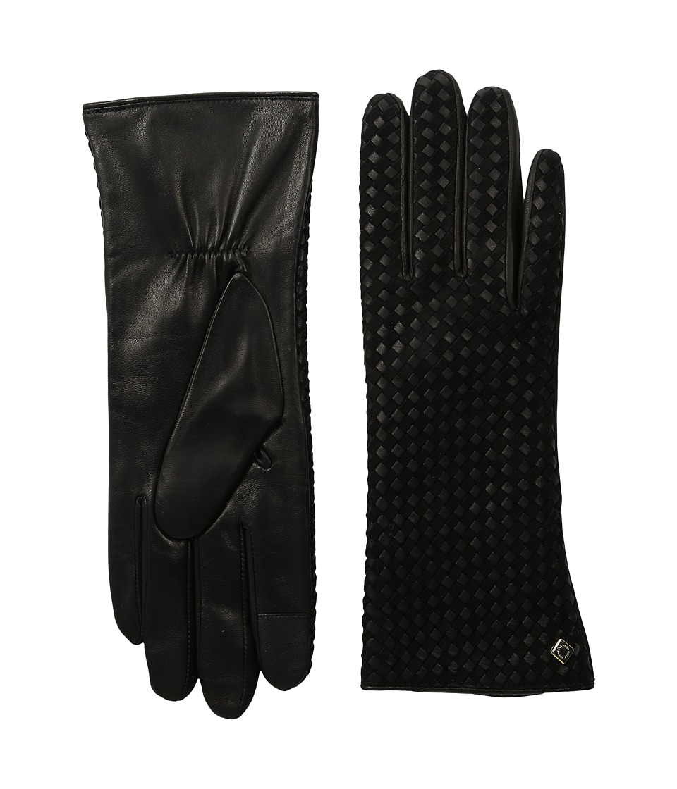 Cole Haan - Braided Back Leather Gloves with Tech (Black) Extreme Cold Weather Gloves