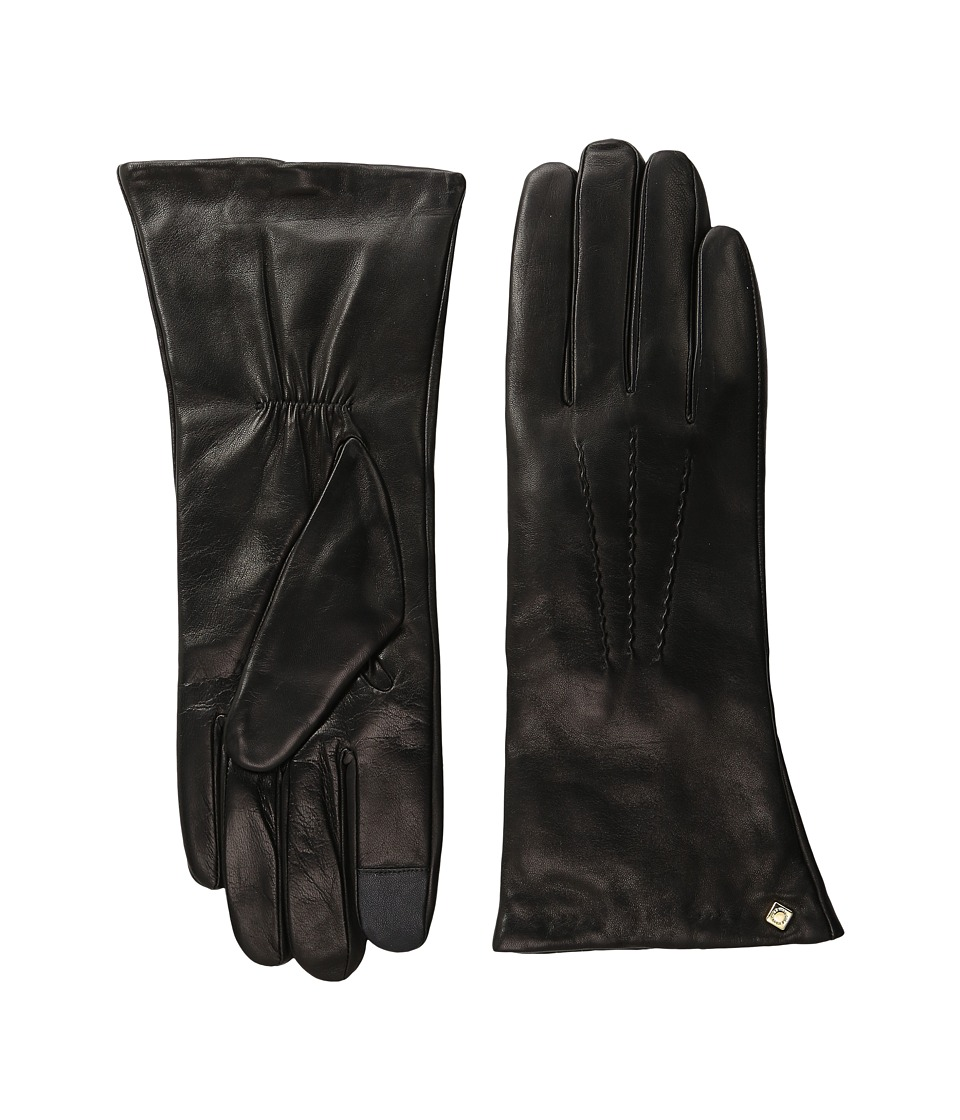 Cole Haan - Long Leather Gloves with Points and Tech (Black) Extreme Cold Weather Gloves