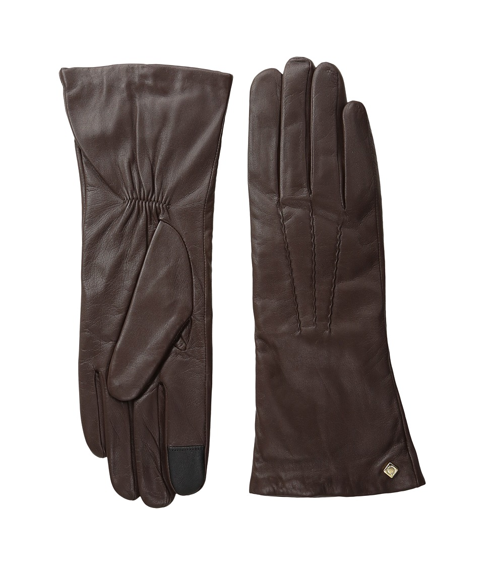 Cole Haan - Long Leather Gloves with Points and Tech (Brown) Extreme Cold Weather Gloves