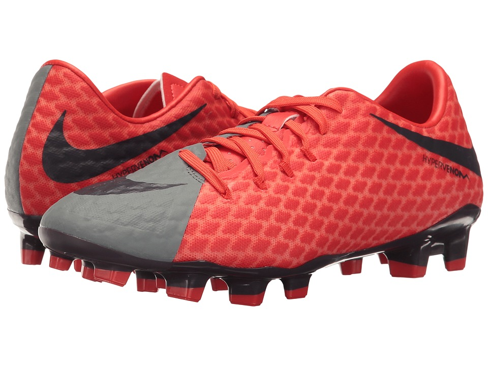 Nike - Hypervenom Phelon III FG (Cool Grey/Purple Dynasty/Max Orange) Women's Soccer Shoes