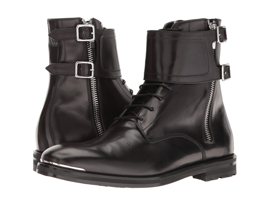 Alexander McQueen - Buckle Ankle Boot (Black) Men's Boots