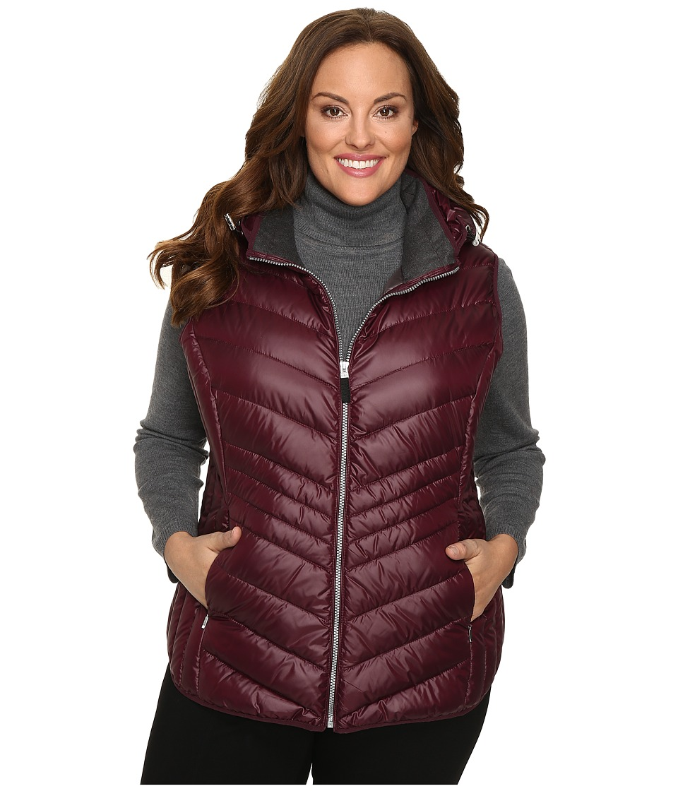Marc New York by Andrew Marc - Plus Size Ruby Down Sweater Vest (Merlot) Women's Vest