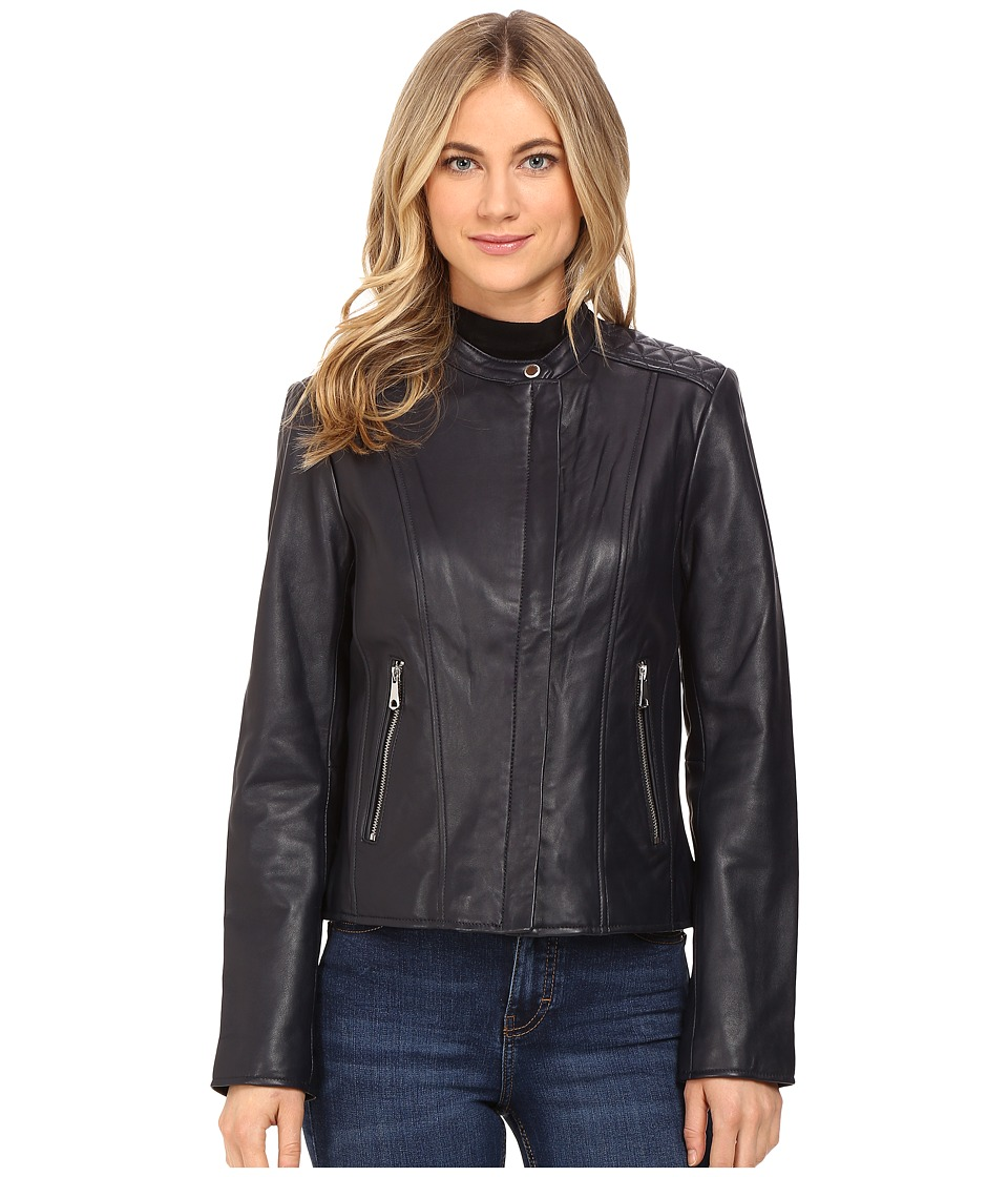 Marc New York by Andrew Marc - Liv Leather Moto Jacket (Ink) Women's Coat