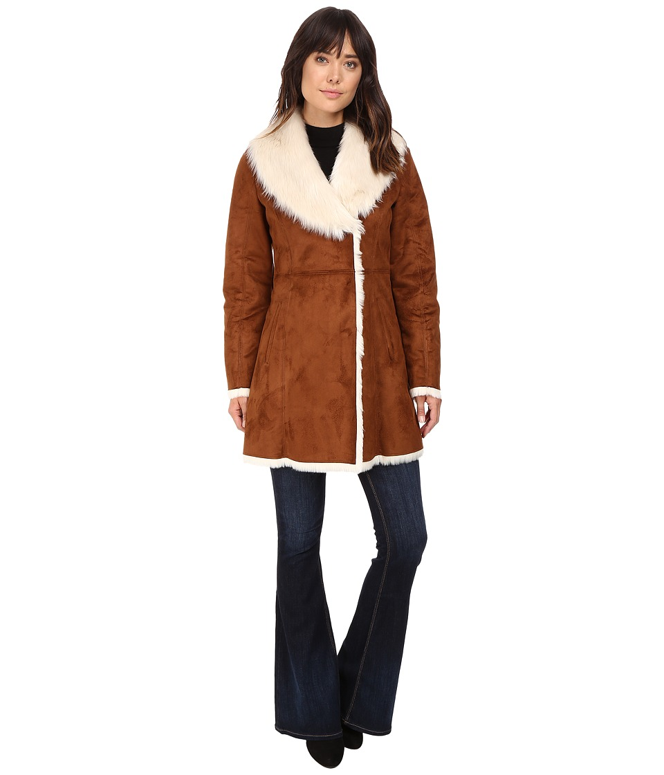 Marc New York by Andrew Marc - Sarah Faux Suede/Fur Coat (Whiskey) Women's Coat