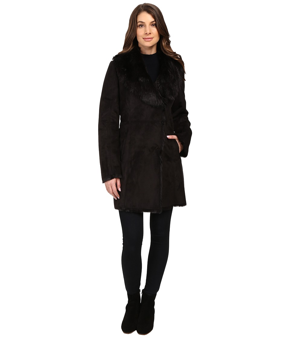 Marc New York by Andrew Marc - Sarah Faux Suede/Fur Coat (Black) Women's Coat