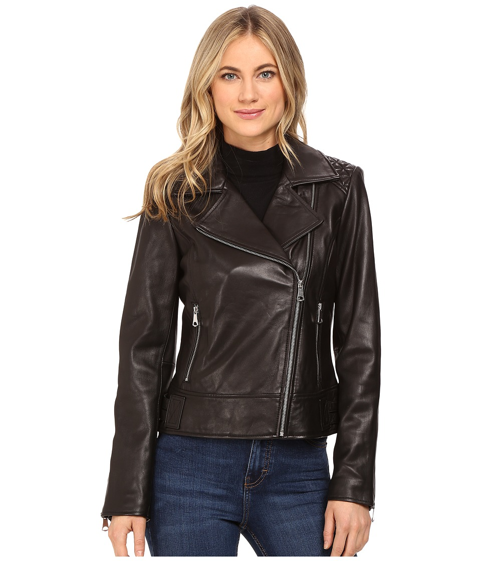Marc New York by Andrew Marc - Leah 21 Glove Lamb Moto Jacket (Black) Women's Coat