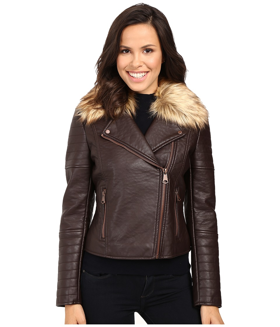 Marc New York by Andrew Marc - Vanessa Faux Leather Faux Fur Jacket (Burgundy) Women's Coat