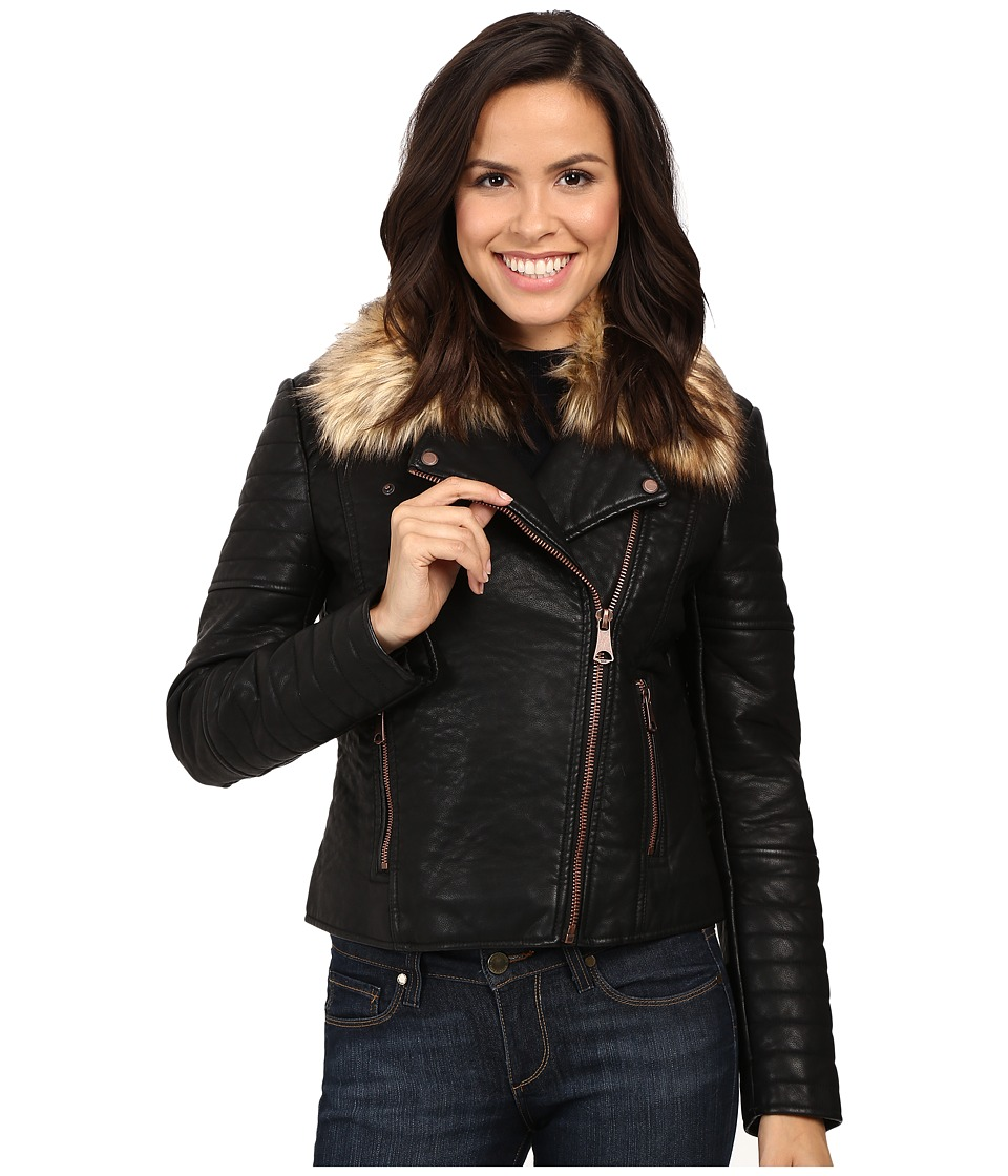 Marc New York by Andrew Marc - Vanessa Faux Leather Faux Fur Jacket (Black) Women's Coat